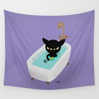 bath Wall Tapestries featuring Bath Time by BATKEI
