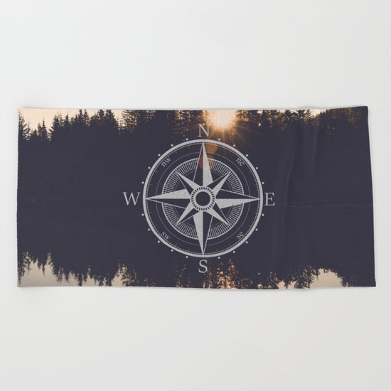 Wooded Lake Reflection Compass Beach Towel