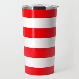 Christmas Red and White Cabana Stripes Travel Mug