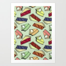 Easy As Pie - cute hand drawn illustrations of pie on sage green Art Print