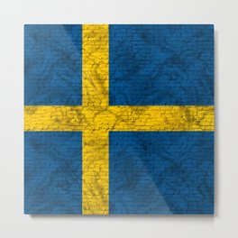 Urban Brick Sweden Flag Metal Print