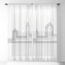 Line Houses Sheer Curtain