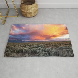 Enchanted Evening - Colorful Storm Cloud Over Desert near Taos, New Mexico Rug