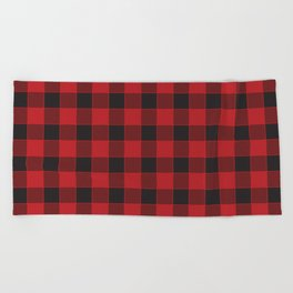 Buffalo Check - black / red Beach Towel