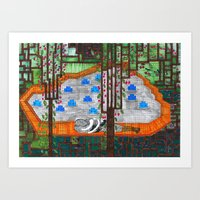 pixel couple Art Print