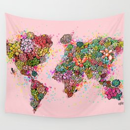The World Succs ( Rose Gold Succulent Map ) Wall Tapestry