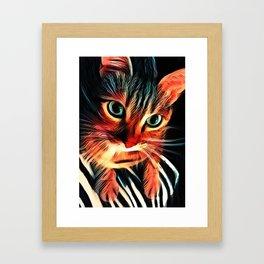 Cheshire Stripes Cat Framed Art Print