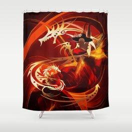Tänzerin mit Drachen Shower Curtain