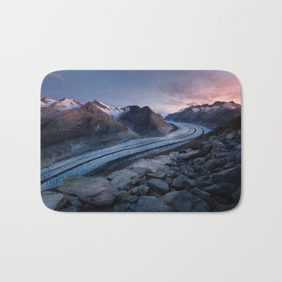 Sunset in the mountains Bath Mat