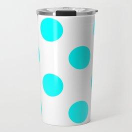 Large Polka Dots - Aqua Cyan on White Travel Mug