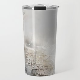 Bleak Beauty - Abstract Landscape in Charcoal Grey, Ivory and Taupe Travel Mug