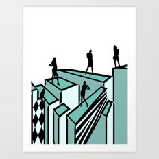 Girls on the roofs Art Print