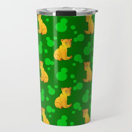 Little bears. Cute adorable funny pink baby bear cubs, bold blue retro dots green forest pattern Travel Mug