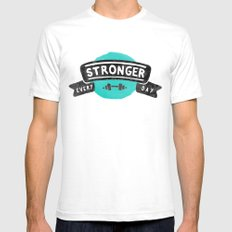 Stronger Every Day (dumbbell) Mens Fitted Tee SMALL White