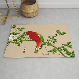 Vintage Japanese Painting of a Parrot, Red & Green Rug