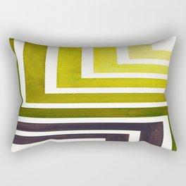 Olive Green Mid Century Modern Watercolor Colorful Ancient Aztec Art Pattern Minimalist Geometric Pa Rectangular Pillow