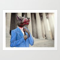 wolf of wall street Art Prints featuring The Wolf of Wall Street by AWolf Illustrations