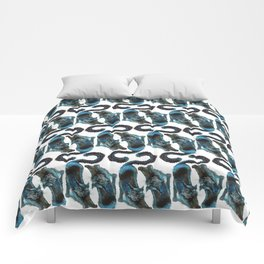 Black Blue Cat Stretching Drawing  Comforters