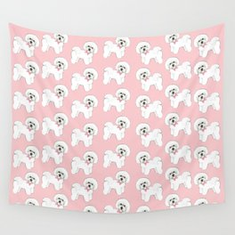Bichon Frise pink bows christmas holiday themed pattern print pet friendly dog breed gifts Wall Tapestry