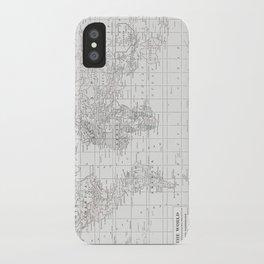 World Map ~ White on White iPhone Case