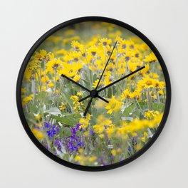 Meadow Gold - Wildflowers in a Mountain Meadow Wall Clock
