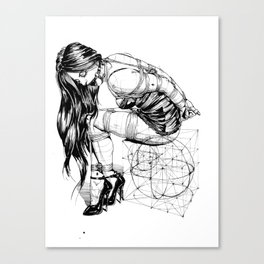 Lady on Cube Canvas Print
