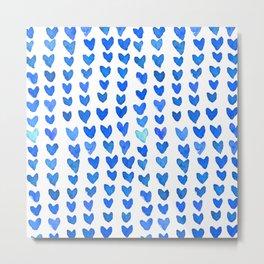 Brush stroke hearts - blue Metal Print