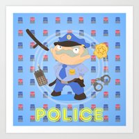 police Art Prints featuring Police by Alapapaju