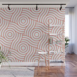 Pantone Living Coral Circle Swirl Pattern on White Wall Mural