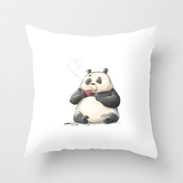 Panda Loves Coffee Throw Pillow
