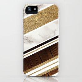 Granite/Wood Gold Pattern iPhone Case