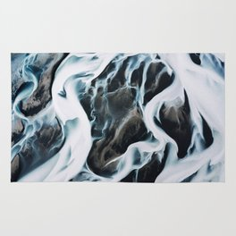 Aerial of an abstract River in Iceland Rug