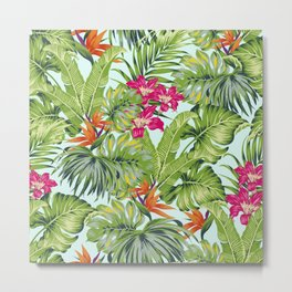 Bird of Paradise Greenery Aloha Hawaiiana Rainforest Tropical Leaves Floral Pattern Metal Print