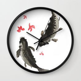 Two Black Koi Wall Clock