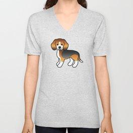 Cute Tricolor Beagle Dog Cartoon Illustration Unisex V-Neck