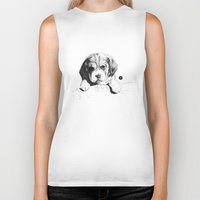 puppy Biker Tanks featuring Puppy by Nuria Galceran