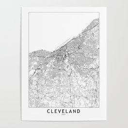 Cleveland White Map Poster