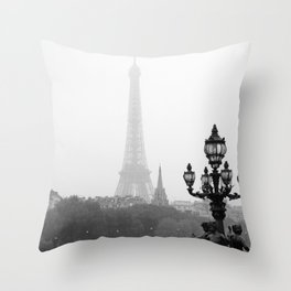 Veiled Eiffel Tower Throw Pillow