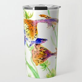 Guppy Fish colorful fish artwork, blue orange Travel Mug