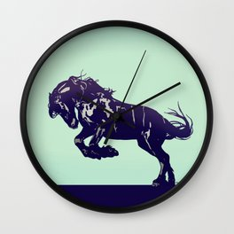 Dark Blue Stallion Wall Clock