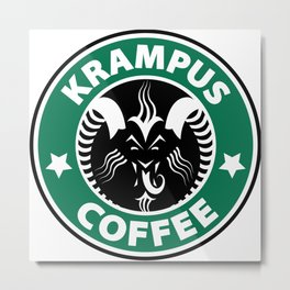 Krampus Coffee Metal Print
