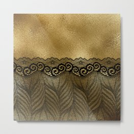 Black floral luxury lace on gold effect metal background Metal Print