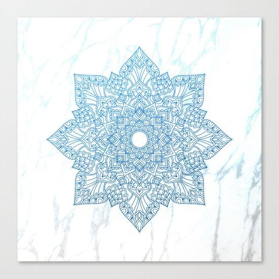Blue flower mandala - marble Canvas Print