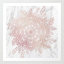 Queen Starring of Mandala-White Marble Art Print