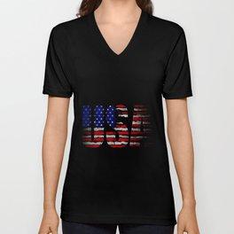 Distressed USA Flag Unisex V-Neck