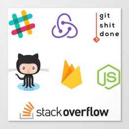 Developers stickers 7 in 1 Canvas Print