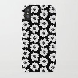 Linocut botanical nature floral flower art nursery black and white decor newborn iPhone Case