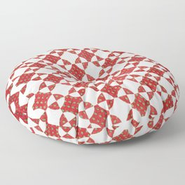 Red and White Quilt Block Floor Pillow
