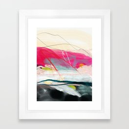 abstract landscape with pink sky over white cloud mountain Framed Art Print