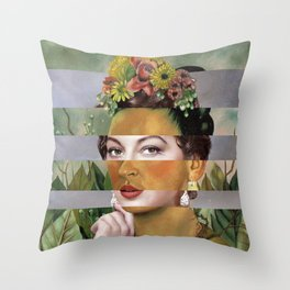 Frida's Self Portrait with Hand Earrings & Ava Gardner Throw Pillow